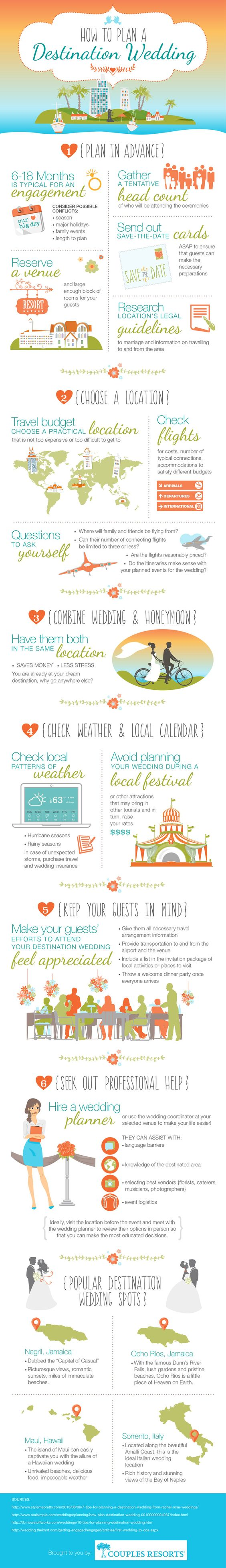 How To Plan A Destination Wedding #Infographic #Wedding #HowTo