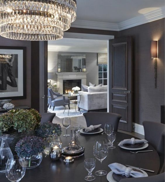 Pinterest the world s catalog of ideas for Grey dining room wallpaper