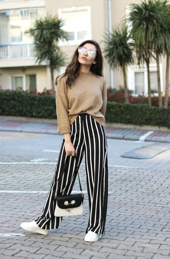 Wide leg striped trousers with oversized jumper