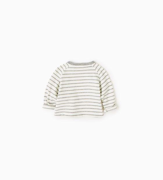 Afbeelding 2 van Organisch katoenen shirt met strepen van Zara