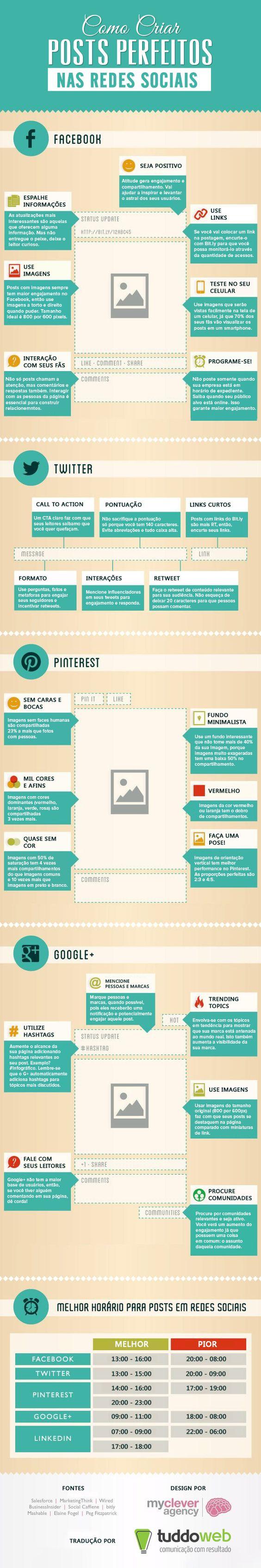 Infográfico ensina como criar posts perfeitos para as redes sociaisBlog Mídia8! » Comunicação digital e redes sociais: