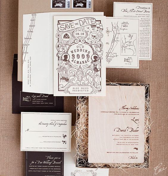 With a luxe-on-the-farm theme at a gourmet field-to-table estate, this suite is all about rustic charm and multiple textures #invitation #invites #party #rsvp