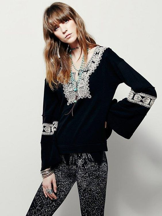 $148 nwt FREE PEOPLE sz S SANTA MARIA pullover in black/ antique combo #FreePeople #KnitTop