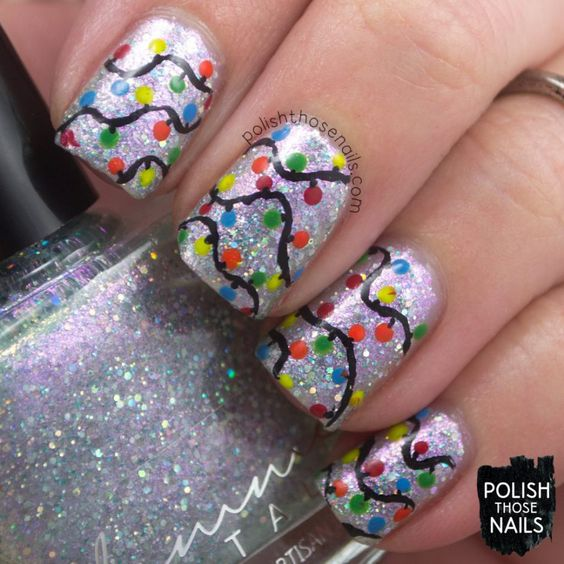 Mirror, Mirror, On The Christmas Lights? // Polish Those Nails // Challenge Your Nail Art - Christmas Lights // indie polish - femme fatale: