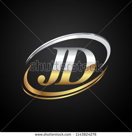 initial letter jd logotype company name colored gold and silver swoosh design isolated on black background graphic design logo logotype initials initial letter jd logotype company name