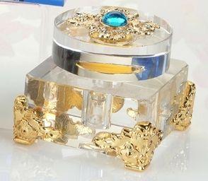 Crystal Clear y oro Botella de perfume con Gema Azul
