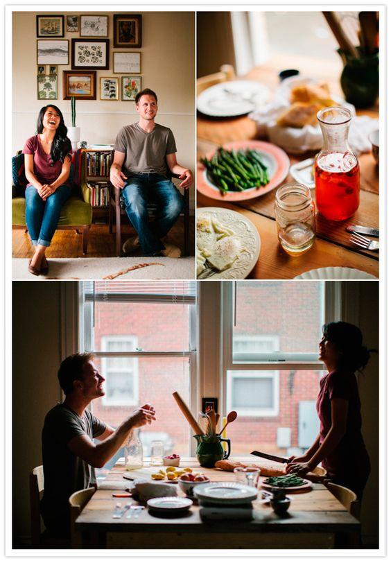 cozy homemade dinner engagement session