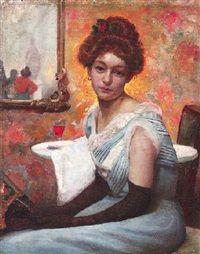Bildnis einer melancholischen jungen Frau im Salon by Walter Zuchors