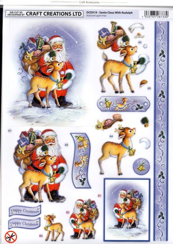 Craft Creations 3D Christmas Die Cut Decoupage - Santa And Rudolph Dcd519 • EUR 2,11 - PicClick FR