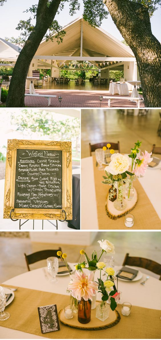 Chalkboard menu in gilt frame and wood slabs as centerpieces and i love the table numbers!