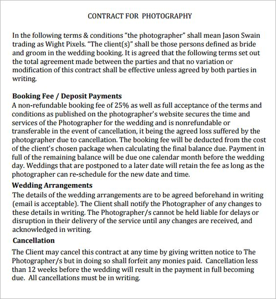 Photography Contract - 7 Free PDF Download | Sample Templates ...