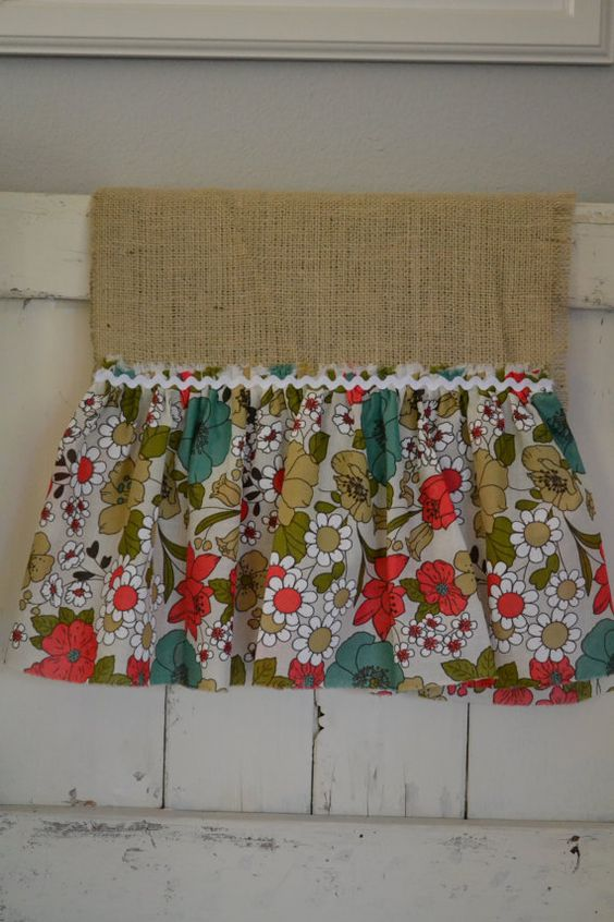 CORAL and TURQUOISE light BURLAP Large Table Runner with Whimsical Flower print (Monkey Makes It on Etsy)