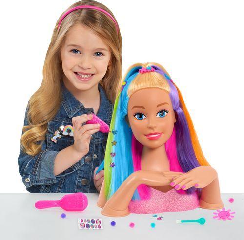 Purple /& Brown Hair* Barbie Rainbow Sparkle Deluxe Styling Head *Blue