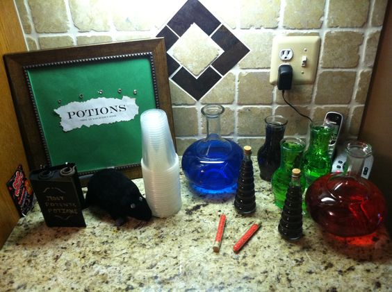 Potions station at a Harry Potter themed party!