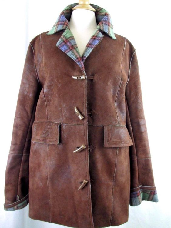 ORVIS Womens L Faux Suede Brown Plaid Fleece Lined Toggle Car Coat