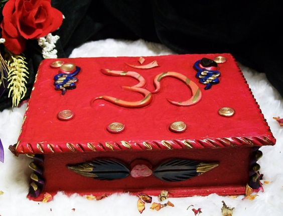 OM Altar Tarot Box Wood and Polymer Clay by leighswiccanboutique, $25.00