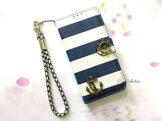 White and Blue iPhone 6 wallet case iPhone 6 by icasecollection, $16.88