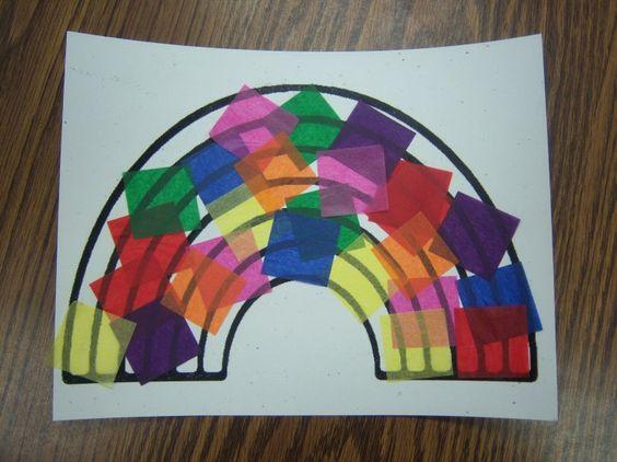 Rainbow Craft - Glue tissue paper on rainbow drawing.