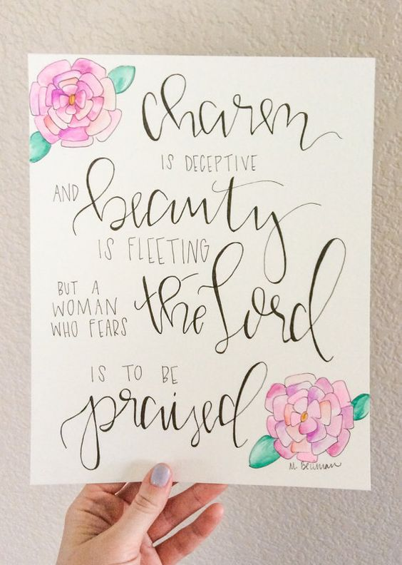 Proverbs 31 30 Calligraphy Painting Typography
