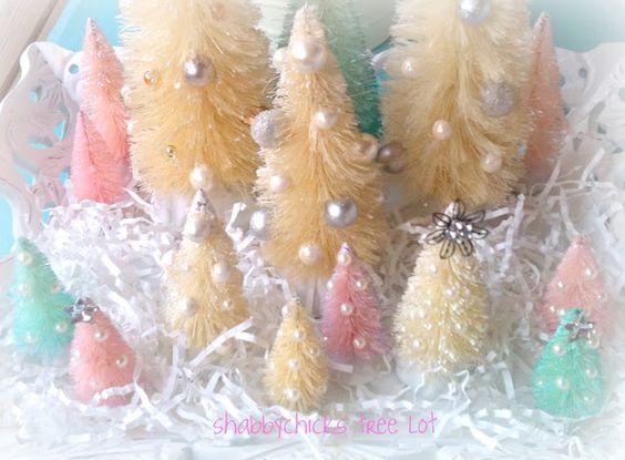 shabby bottle brush christmas trees