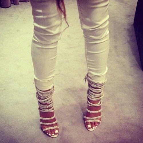 White jeans, white toenails, white strappy heels. I love. | Shoe ...