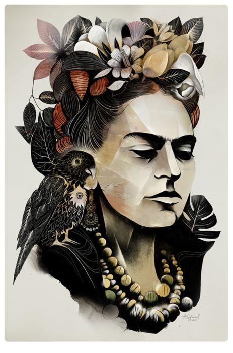 Frida Kahlo | Illustrator: Alexey Kurbatov - www.behance.net/...