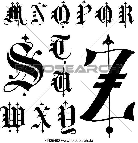 Clipart - vektor, mittelalterlich, gotische, schriftart, m-z k5135492 - Suche Clip Art, Illustration Wandbilder, Zeichnungen und Vector…