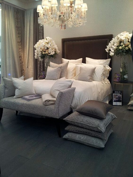 Gray cream and brown bedroom i 39 m actually liking this for High end catalogs for home decor