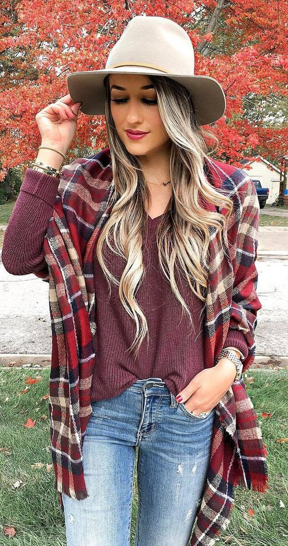 outfit of the day | hat + plaid scarf + sweater + jeans