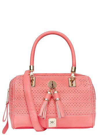 Kardashian coral perforated barrel bag  #DorothyPerkins