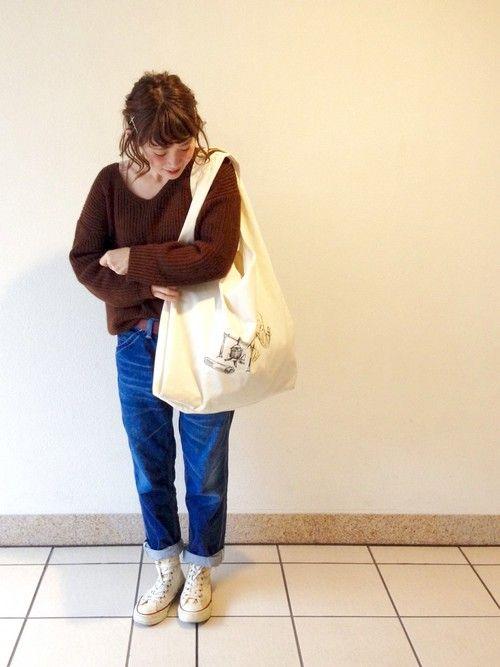 ike.さんのトートバッグ「SOUVENIR 反対側のイラストもナイスです✨」を使ったコーディネート