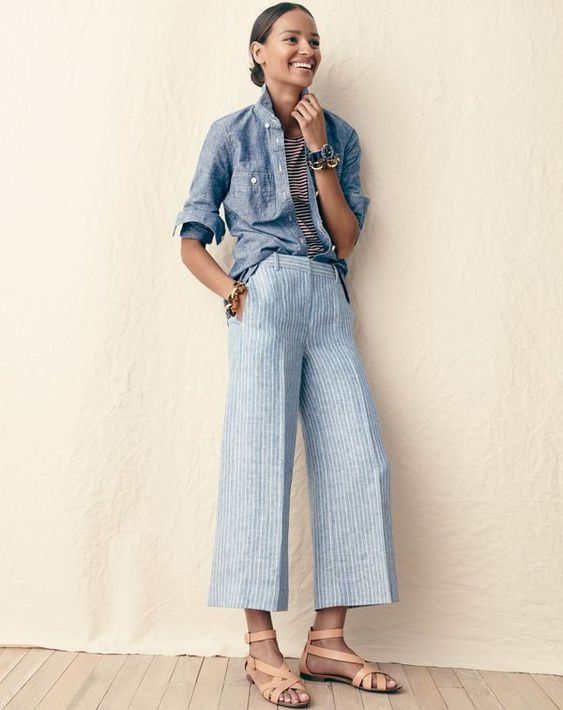 J.Crew women's selvedge chambray shirt, ballet cap-sleeve T-shirt in stripe, gazebo pant in market stripe, tortoise and gold link bracelet and multistrap sandals.
