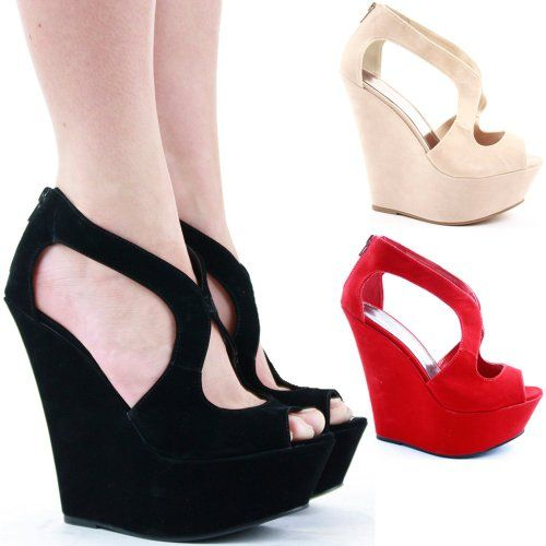 Ladies Platform Wedges High Heel Peeptoe Bridal Wedge Shoes ...