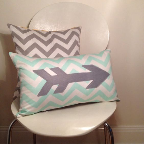 "Mint Chevron Arrow Cushion/Pillow Cover 12x20"" (30x50 cm) on Etsy, $35.00 AUD"