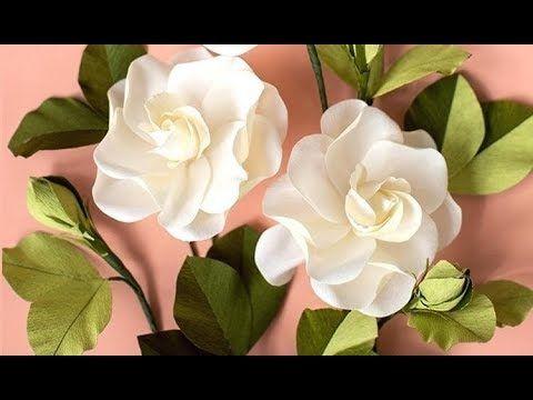 Como Hacer Flores De Papel Flor De Papel Crepom Gardenia Flores Youtube Paper Flowers Christmas Party Crafts Diy Flowers