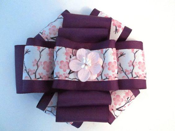 Sakura - Bow tie - Womens tie - Barrette - Bow tie brooch - Uniform brooch tie - Cherry blossom brooch - For her - Purple fascinator - For clothes