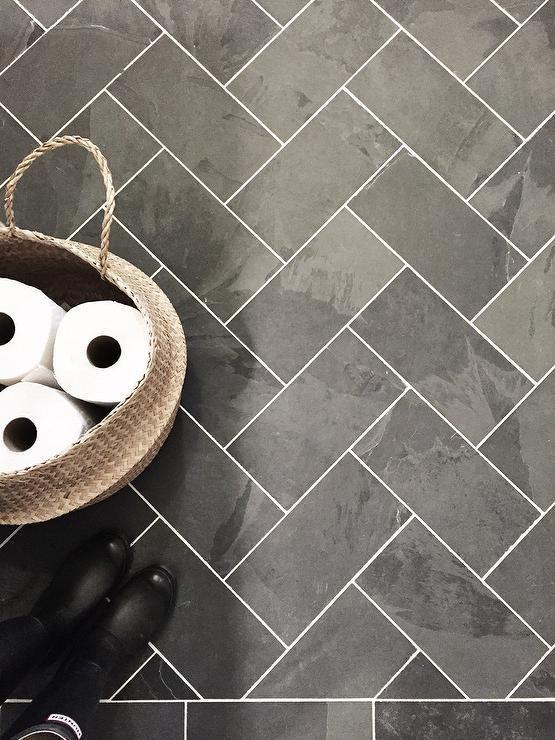 Black Slate Herringbone Tile Floor Transitional Laundry