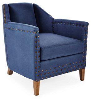 Redford Armchair, Denim Blue