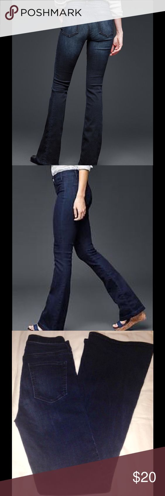 """Gap Resolution Skinny Flare Jean, Darn Wash, 28. This is a sad day ladies. This is that pair of jeans in my closet that I'm going to fit into again. You all know you have a pair of jeans you are saving for when you loose ten pounds. If you are a 28/6, these jeans will do amazing things for your body. My legs looked a million miles long and toned in these. They are a mid-rise, dark wash, with a 33"""" inseam, and 21"""" leg opening. GAP Jeans Flare & Wide Leg"""