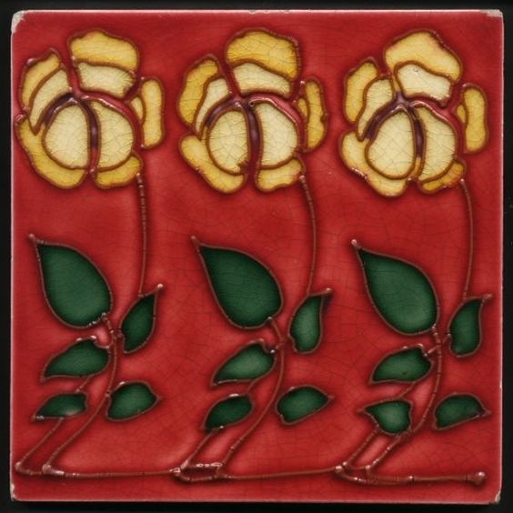 TH2782 Very Rare Art Nouveau Tubeline Floral Tile, Probably Marsden c.1908 #ArtNouveau