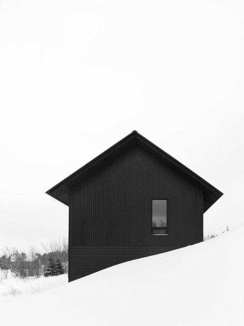 .: Blackhouse, Black And White, Modern Cabin, Architecture Black, Black White, White Snow