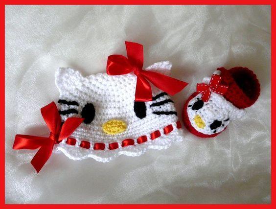 Set Gehaakte Baby Muts + Schoentjes Kitty von Knits for Kids auf DaWanda.com