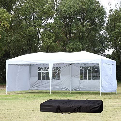 Eurmax 10 X 20 Premium Ez Pop Up Canopy Wedding Party Tent Gazebo Shade Shelter Commercial Grade Bonus Wheeled Bag Black Canopy Tent Outdoor Party Tent Canopy Outdoor