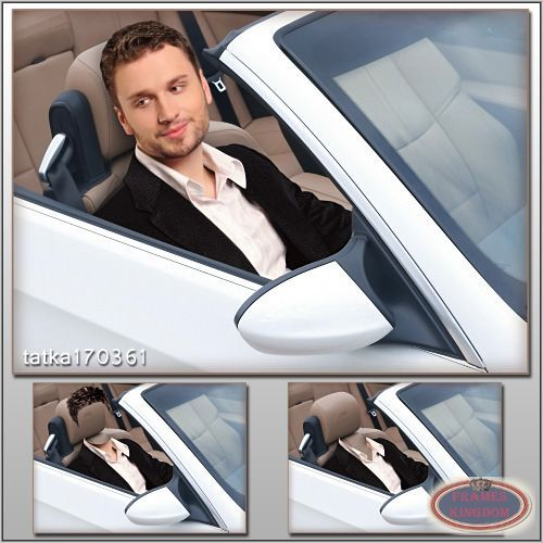 Man photo template montage in the luxury car