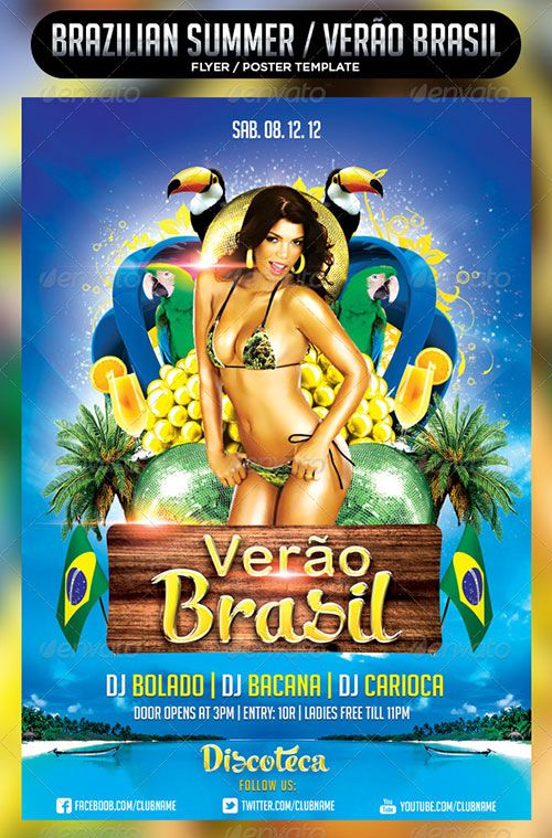tropical summer beach pool flyer poster template free club party - pool party flyer template