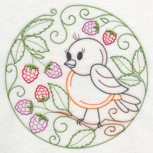 Embroidery animals and flowers birds robin