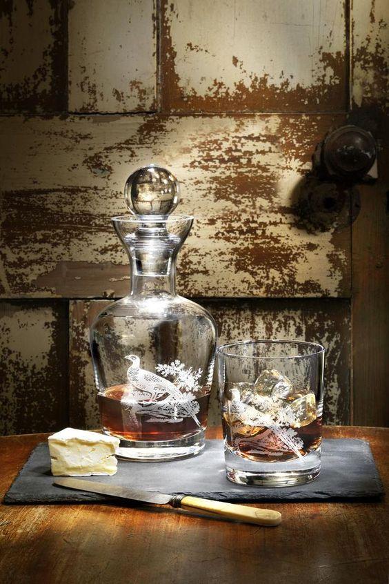 Spode Glen Lodge Fasan Glaskaraffe und Whiskey-Glas http://www.kippax.de/Geschirr/Spode/