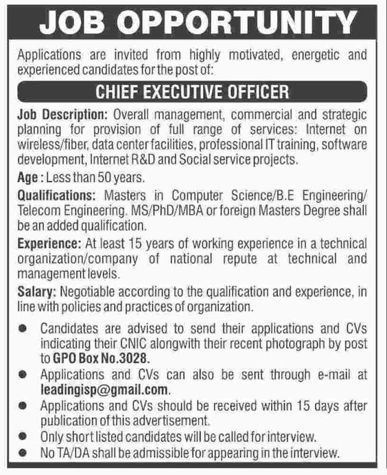 chief executive officer jobs in pakistan 8 november 2016 Jobs In - executive employment contract