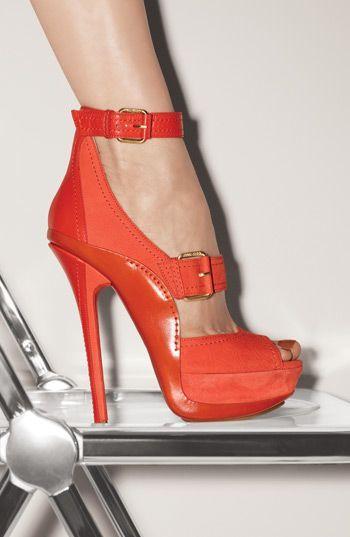 Jimmy Choo orange high heel platform sandals