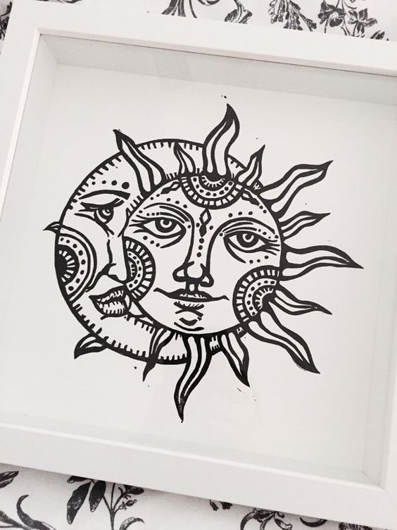 Tattoo Stencils Printable Moon: Vintage Sun And Moon Original Linocut Print By